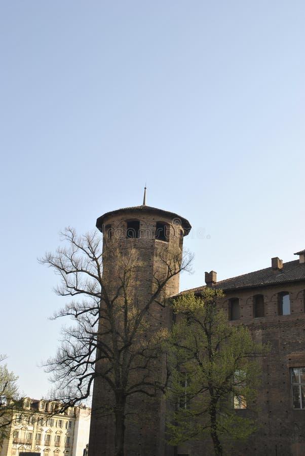 Palazzo Madama tower on Castello square in Torino. A medieval like tower of palazzo Madama on Castello square in Torino royalty free stock image