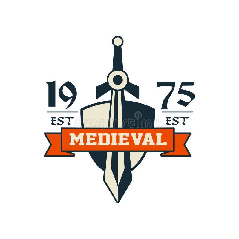 Medieval logo, est 1975, vintage badge or label, heraldry element vector Illustration stock illustration