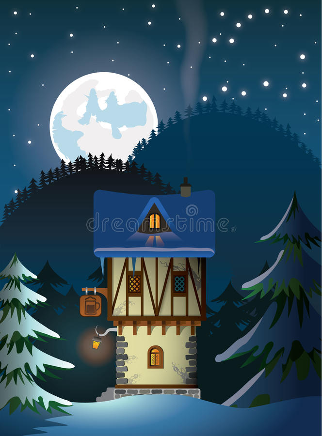 Medieval lonely mountain house royalty free illustration