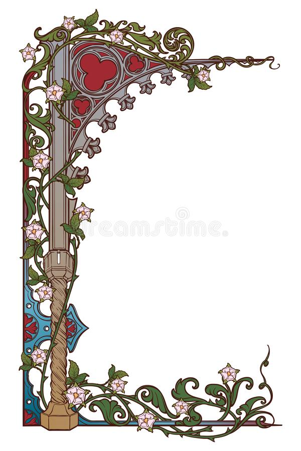 Medieval manuscript style rectangular frame. Gothic style pointed arch braided with a rose garlands. Vertical royalty free illustration