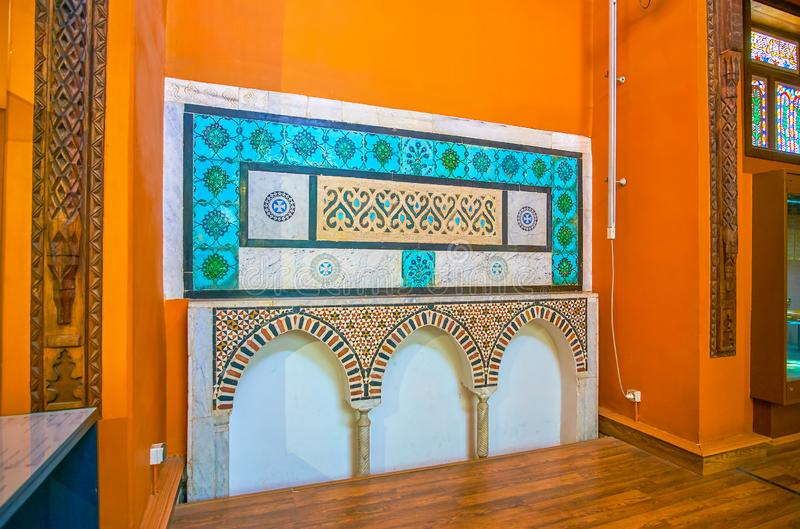 The medieval marble decoration in Coptic Museum, Cairo, Egypt. CAIRO, EGYPT - DECEMBER 23, 2017: Coptic Museum boasts preserved medieval era decoration stock photos