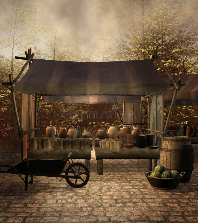 Medieval market. Place with pottery and vegetables stock illustration