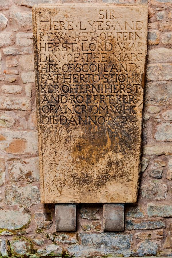Medieval memorial tombstone at Jedburgh Abbey in the Scottish Bo stock images