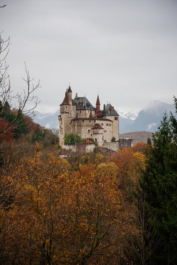 The medieval Menthon Castle in the commune of Menthon-Saint-Bernard, in the Haute-Savoie, France. Beautiful view of world-famous medieval Menthon Castle in the royalty free stock photos