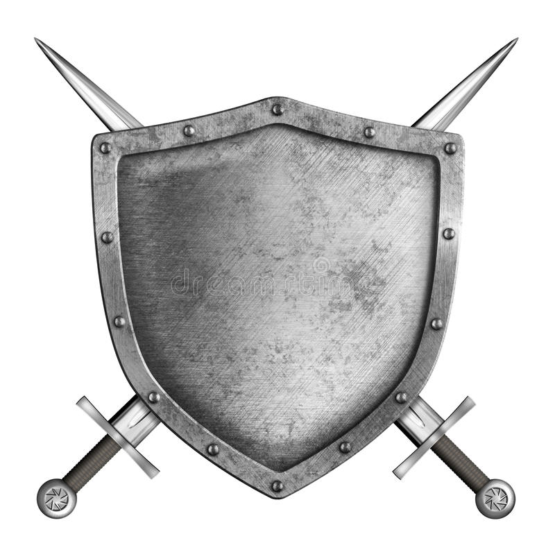 Free Medieval Metal Knight Shield With Crossed Swords Coat Of Arms Stock Image - 41049971