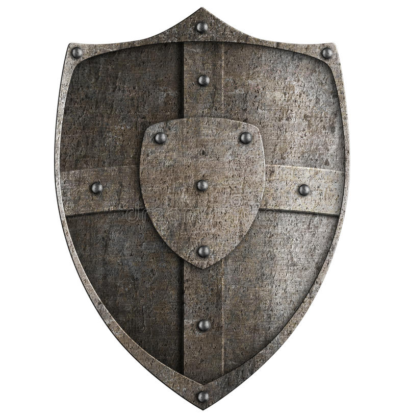 Medieval metal shield. Isolated on white stock photography