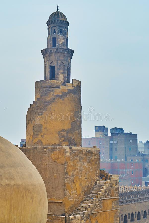Medieval minaret of Ibn Tulun mosque, Cairo, Egypt. Preserved medieval spiral minaret of Ibn Tulun mosque is the only one construction of Samarran style in Cairo stock image