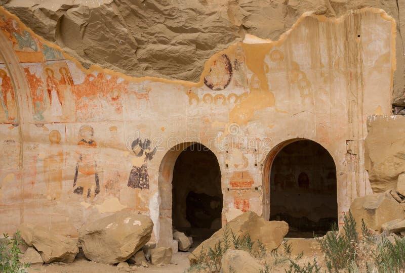 Medieval mural in the David Gareja monastery complex. In Kakheti, Georgia stock photos