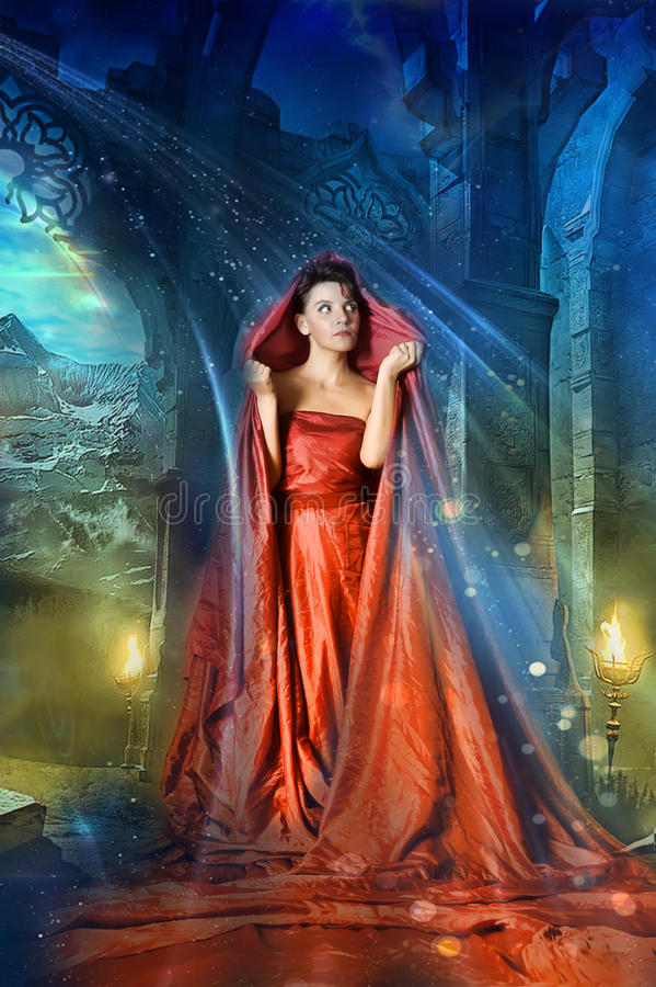 Medieval mystical women stock photos