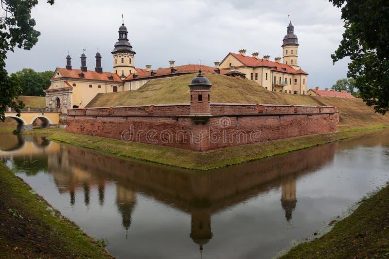 The medieval Nesvizh castle built in the 13th century, Belarus. Belarusian tourist landmark attraction Nesvizh Castle - medieval castle in Nesvizh, Belarus stock photography