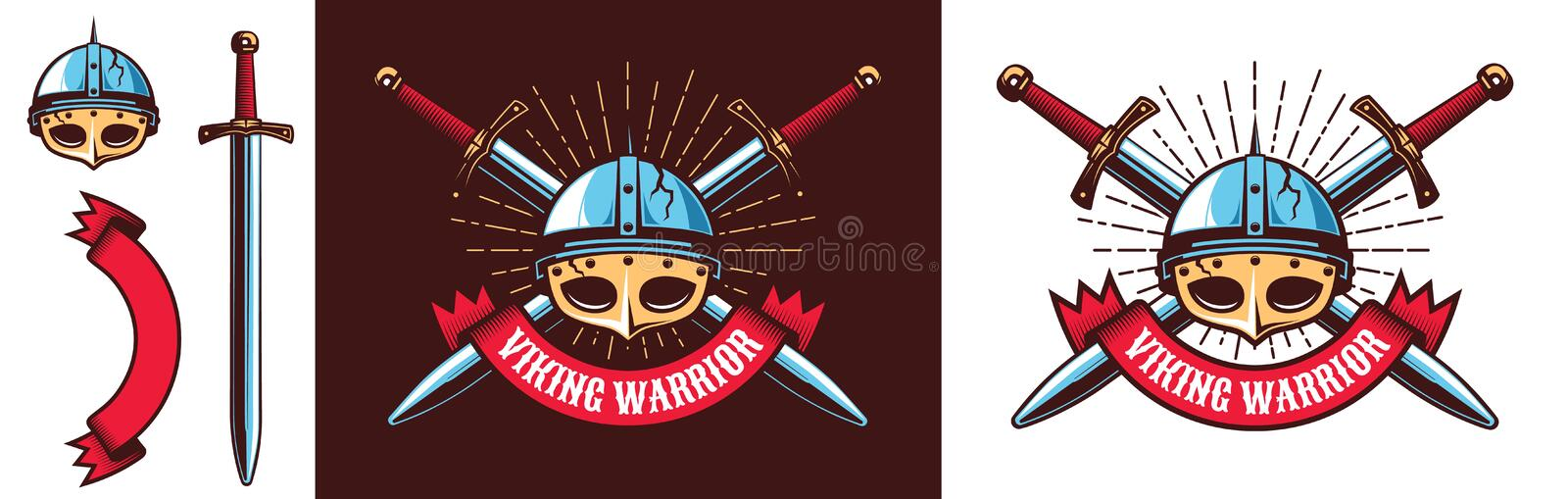 Medieval northern Viking warrior logo stock illustration
