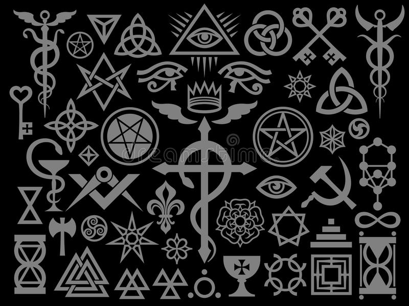 Medieval Occult Signs And Magic Stamps (Silver Black Edition) royalty free illustration