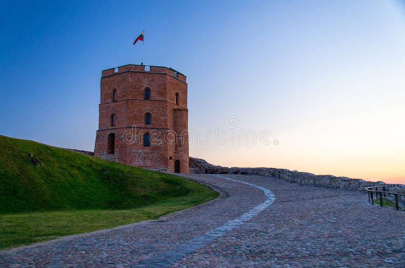 Medieval old Castle Tower Of Gediminas Gedimino, Vilnius, Lithua royalty free stock photos