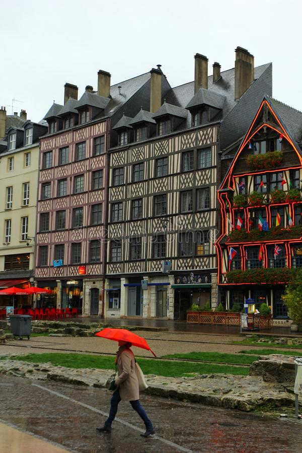 Medieval old houses of Rouen, the capital of Normandy, on a rainy autumn day stock photos