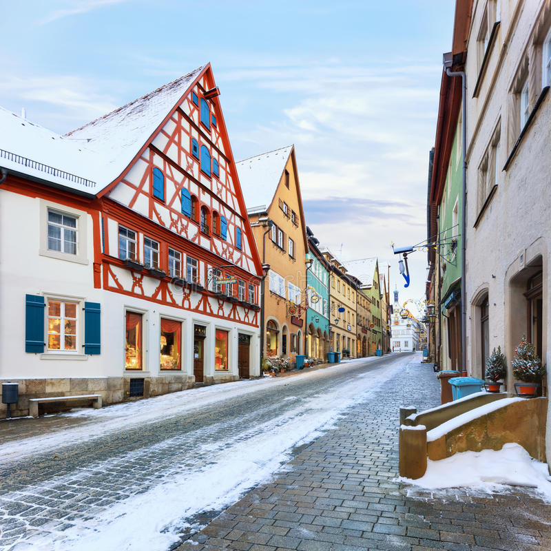 Medieval old Rothenburg ob der Tauber. Amazing winter in old town of Rothenburg ob der Tauber, Middle Franconia, Bavaria, Germany royalty free stock photography