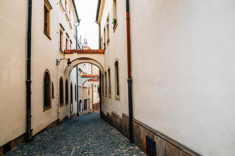 Medieval old town narrow alley in Olomouc, Czech Republic. Europe royalty free stock image