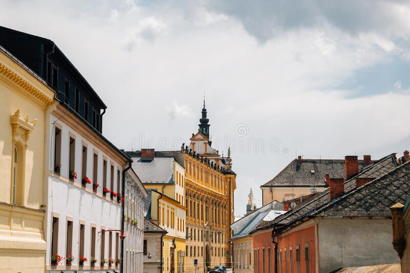 Medieval old town street in Olomouc, Czech Republic. Europe stock image