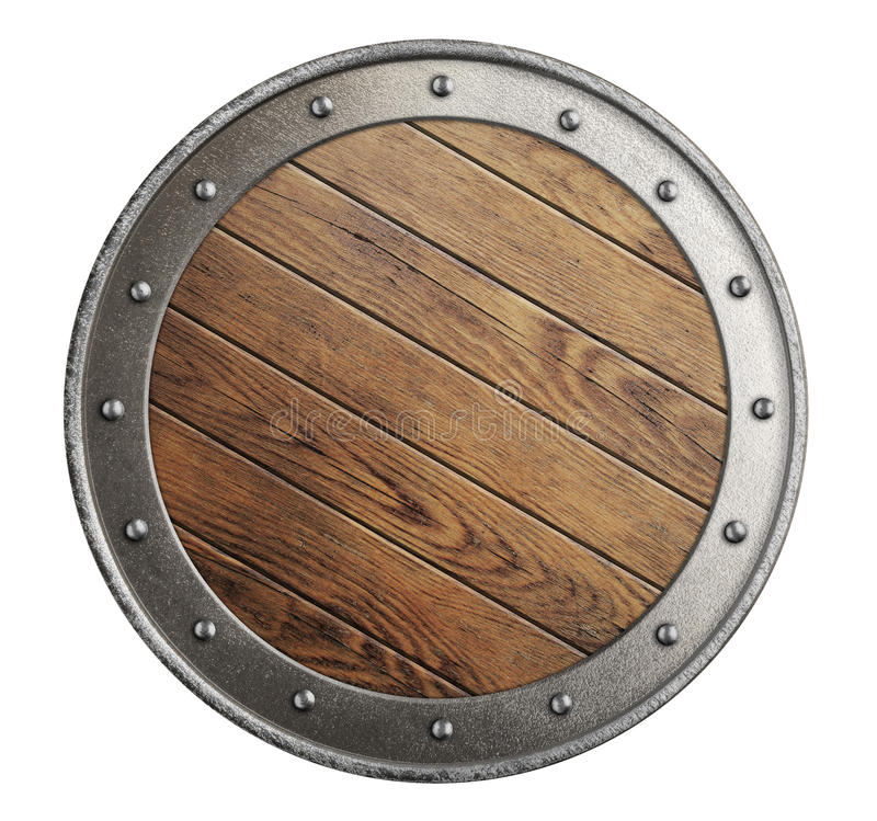 Medieval old wooden vikings' shield isolated royalty free stock photography