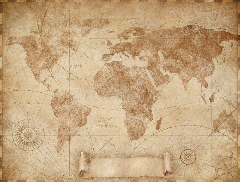 Medieval old world map illustration based on image furnished by NASA stock photo