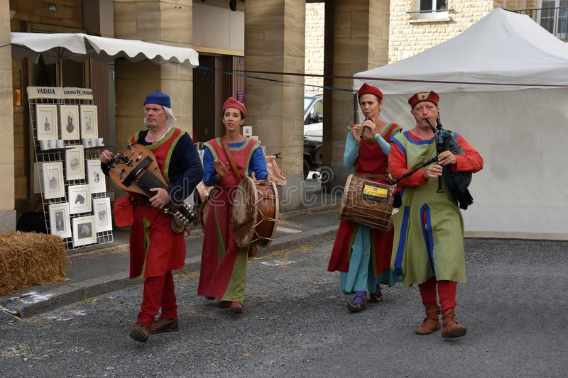 Medieval pageant in Falaise, Normandy stock photos