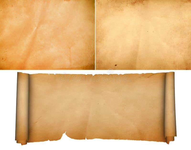 Medieval parchment set. stock image