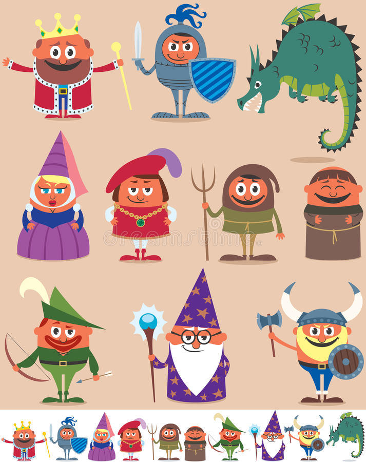 Medieval People. Set of 10 cartoon medieval characters. Below are the same characters customized for white background. No transparency and gradients used royalty free illustration