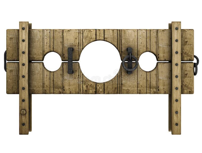 Medieval pillory punishment device vector illustration
