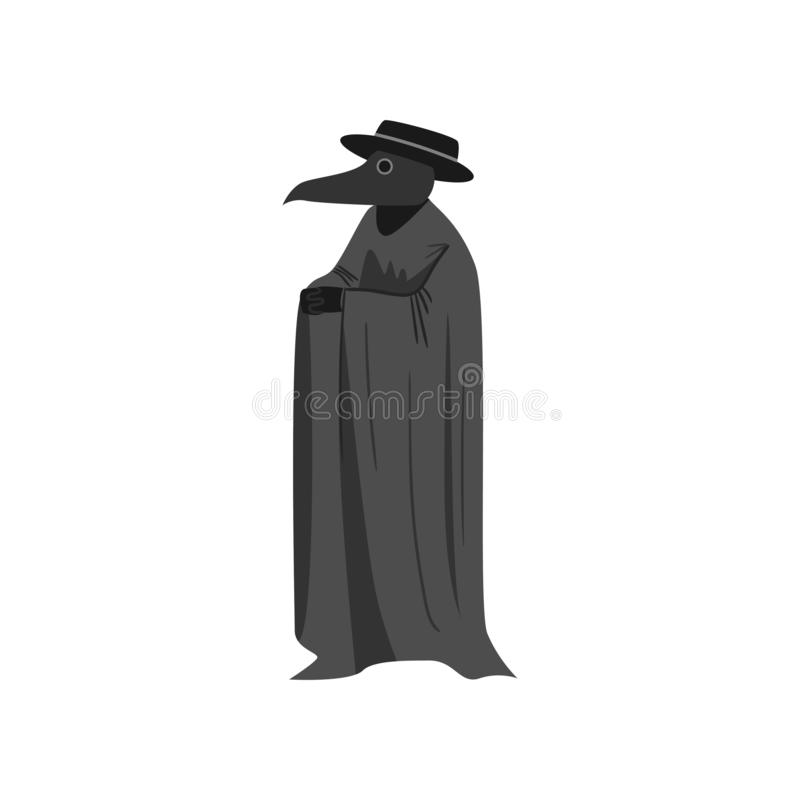 Medieval plague doctor with black hat and long textile coat stock illustration