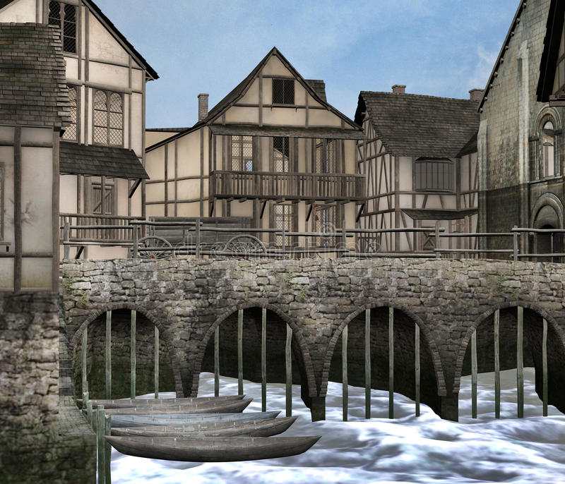 Medieval port. A 3D rendered image of a medieval town and port vector illustration