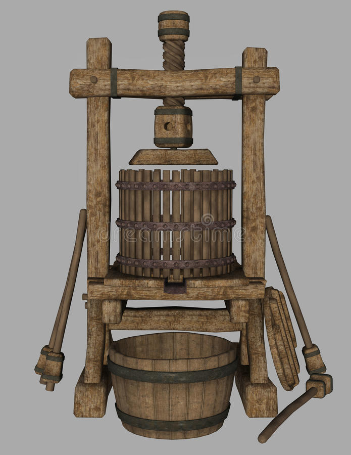 Medieval press. 3D illustration of a medieval press isolated on background royalty free illustration