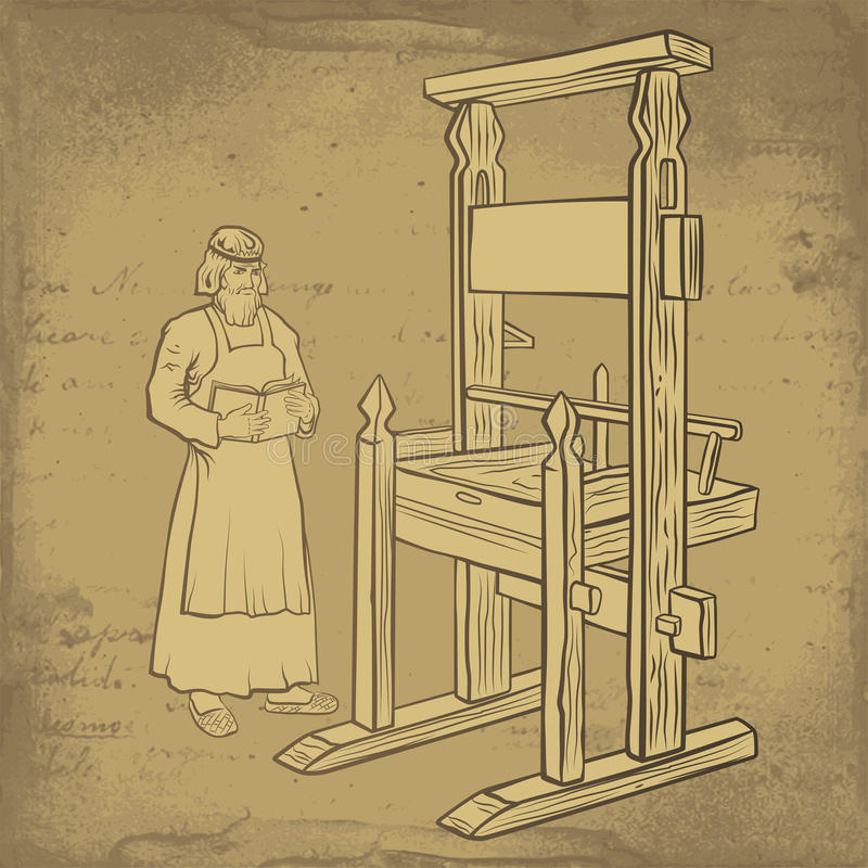 Medieval printer. Holds own book near the printing press royalty free illustration