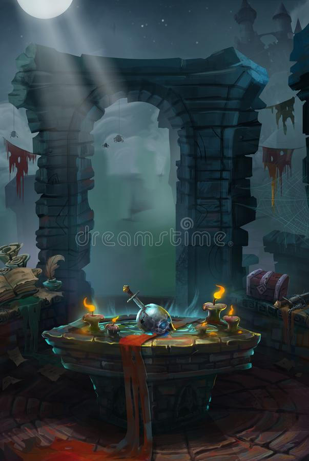Medieval, The Priory or Castle. Video Game`s Digital CG Artwork, Colorful Concept Illustration, Realistic Cartoon Style Background vector illustration
