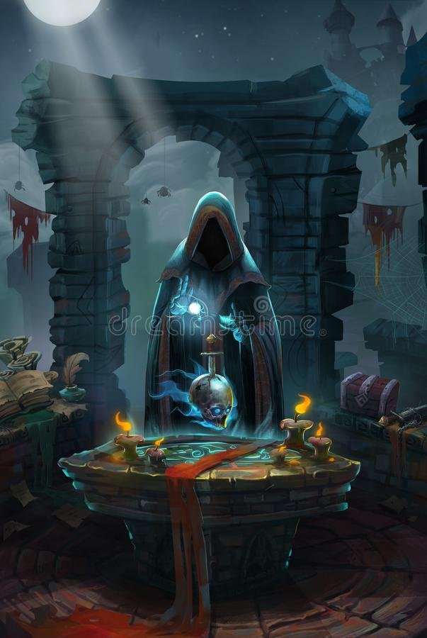 Medieval, The Priory and The Priest or Monk. Video Game`s Digital CG Artwork, Colorful Concept Illustration, Realistic Cartoon Style Background vector illustration