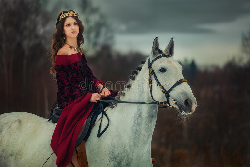 Medieval Queen Portrait Stock Image. Image Of Animal