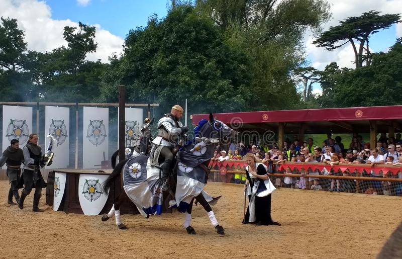 Medieval Reenactment at Warwick Castle, England. War of the Roses Play at the medieval Warwick Castle, Great Britain royalty free stock photos