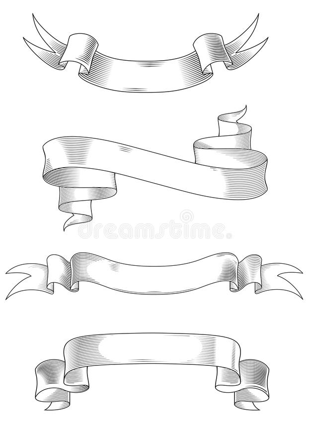 Medieval ribbons. Medieval abstract ribbons set for heraldry design vector illustration