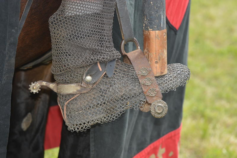 Medieval Riding Boot In Stirrup royalty free stock photo
