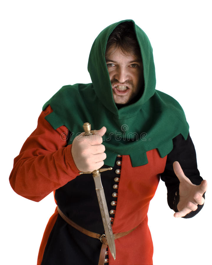 Medieval robber stock image