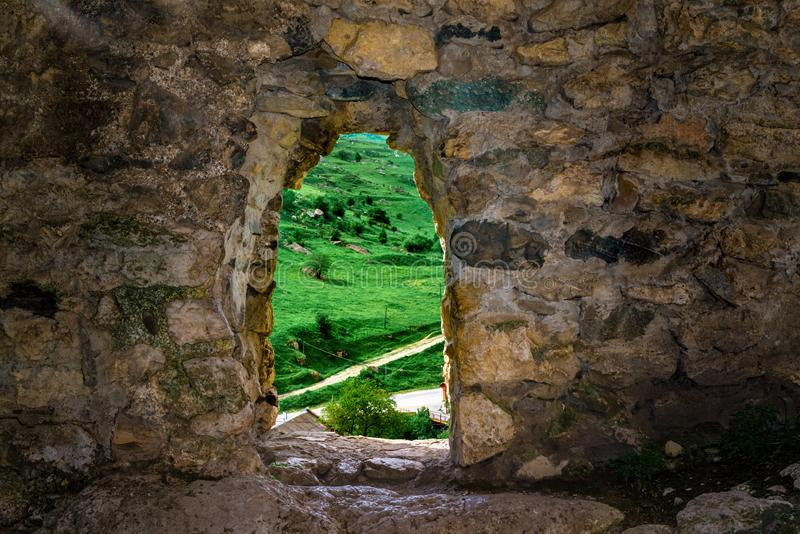 Medieval rock fortress in North Ossetia Alania royalty free stock photo