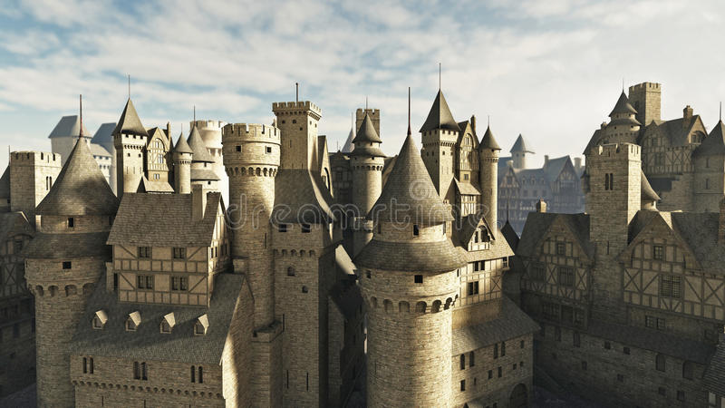 Medieval Rooftops. Medieval or fantasy town rooftops, 3d digitally rendered illustration stock illustration