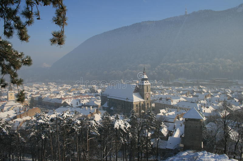Download Medieval Rooftops Of Brasov In Winter. Stock Photo - Image: 12271808