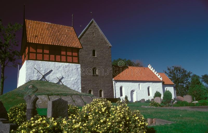 Medieaval round church in Ruts on Bornholm island. Medieval round church in Ruts built in the middle ages on the island of Bornholm, Baltic Sea. Iinteresting stock image