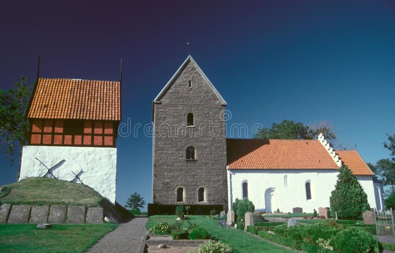 Medieaval round church in Ruts on Bornholm island. Medieval round church in Ruts built in the middle ages on the island of Bornholm, Baltic Sea. Iinteresting stock photos