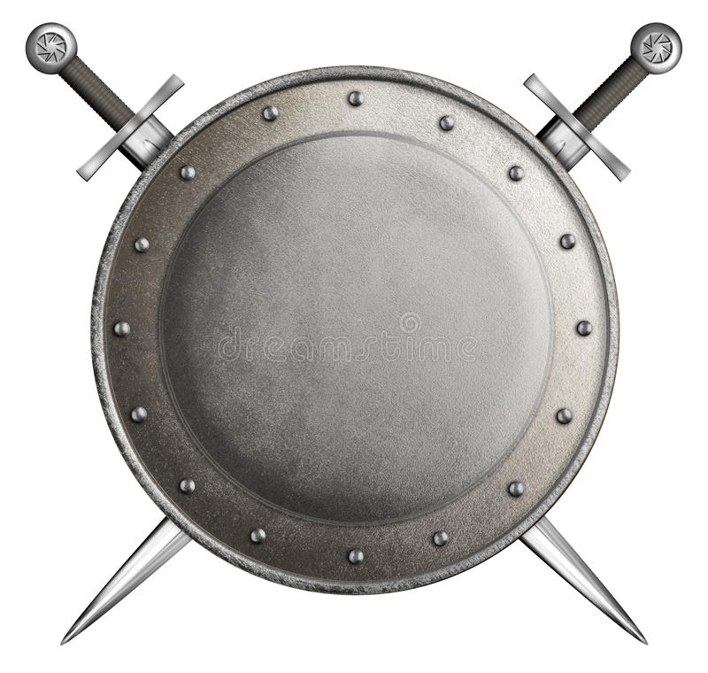 Medieval round shield with two swords coat of arms. Medieval round shield with two swords isolated on white royalty free stock photo