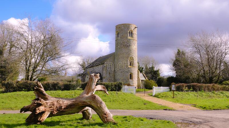 Medieval round tower village church. royalty free stock photography
