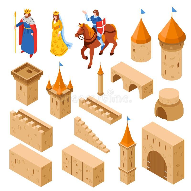 Medieval Royal Castle Isometric Set vector illustration