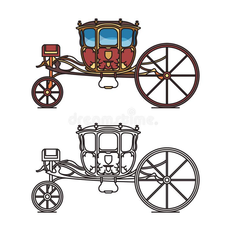 Medieval royal chariot for king or prince vector illustration
