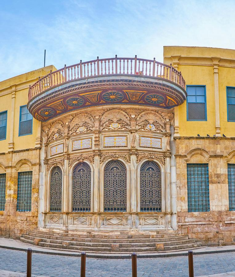 The medieval Sabil in Islamic Cairo district, Egypt. The frontage of Sabil of Muhammad Ali Pasha, the medieval building for water dispensing, located in stock photography