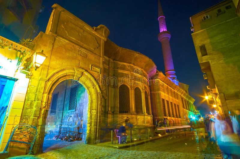 The medieval Sabil-Kuttab in old Cairo, Egypt. CAIRO, EGYPT - DECEMBER 20, 2017: The beautiful ensemble of medieval Mosque-Sabil of Sulayman Agha al-Silahdar stock photo