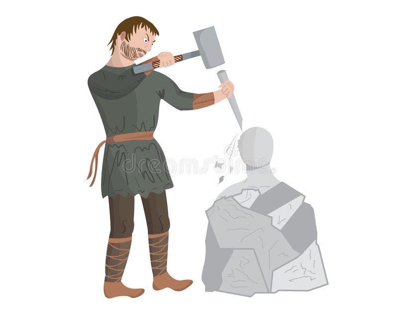 Medieval sculptor stock illustration
